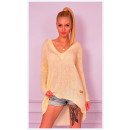 groothandel Kleding & Fashion: Trui, dun, licht,  asymmetrisch, geel, uni