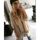 wholesale Coats & Jackets: Sleeveless vest, vest, fur, beige, unisize