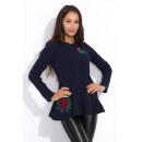 Großhandel Hemden & Blusen: Bluse mit Stickerei, weiten Ärmeln, dunkelblau