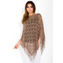 wholesale Fashion & Mode: Poncho openwork  mesh, tassels, uni, cappuccino