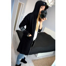 wholesale Fashion & Mode: Sweatshirt long  pockets, stripe, black
