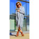 hurtownia Fashion & Moda: Sweter długi,  płaszcz, kardigan, kieszenie, szary