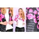 hurtownia Plaszcze & Kurtki: Wiosenna kurtka,  biała, róże, rozmiary