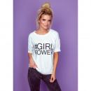 DE LUX-blouse: #GIRL POWER-mouw, oversized, wit