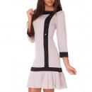 Großhandel Kleider: Kleid mit Knöpfen, beige, alle Größen
