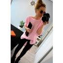 Sweter, dłuższy tył, dekolt V, oversize, różowy