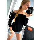 wholesale Shirts & Blouses: Blouse, cut, bow, manufacturer, black