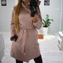 Kabát, öv, zsebek, hosszú, por rózsaszín