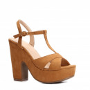 Zapatos, sandalias, palo ante el talón, camello