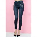 Großhandel Jeanswear: Schwarze Röhrenjeans hohe Taille Ziernieten