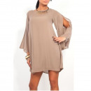 wholesale Shirts & Blouses: Mini chiffon tunic, summer, beige, unisize