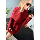 wholesale Coats & Jackets: Coat, layered, belt, pockets, burgundy