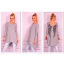 wholesale Shirts & Blouses: Tunic asymmetrical wings, gray unisize
