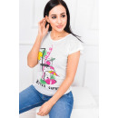 wholesale Shirts & Tops: T-Shirt for women, fruit cocktail, ecru