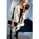 wholesale Coats & Jackets: Sleeveless vest, fur, mocha, unisize