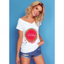 wholesale Shirts & Tops: DE LUX T-Shirt : HOLIDAY overprint, top, cleavage,