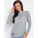 Sweater with holes, spring, gray, S / M