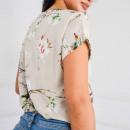 Großhandel Hemden & Blusen: Bluse mit Blumen V-Ausschnitt