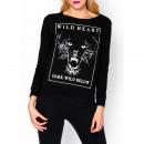 Sweatshirt, print Puma  wild heart  navy blue size