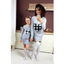 wholesale Childrens & Baby Clothing: Dress sweatshirt,  mom and baby, gray grille