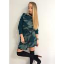 hurtownia Plaszcze & Kurtki: Płaszcz swetrowy,  wzór, unisize, pasek, zielony
