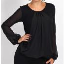 ingrosso Camicie: camicetta di  chiffon, nero,  grande formato, L ...