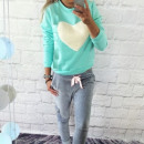 wholesale Childrens & Baby Clothing: Maternity sweater, heart, ecru mint