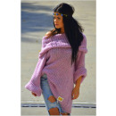 Sweater long boho,  golf, hood, purple, oversize