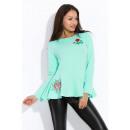 Großhandel Hemden & Blusen: Bluse mit Stickerei, weiten Ärmeln, Minze