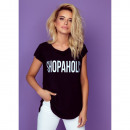 wholesale Shirts & Tops: T-Shirt DE LUX: SHOPAHOLIC, oversize, black