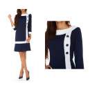wholesale Dresses: Dress with buttons, navy blue, all sizes