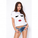 wholesale Shirts & Tops: Shirt, T-Shirt,  eyelashes, print, black