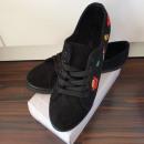 Shoes, sneakers, badges, black