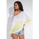 Großhandel Hemden & Blusen: Zweifarbige Bluse, asymmetrisch, gelb