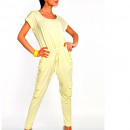 wholesale Trousers: Coverall with  pockets, yellow, oversize