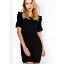 groothandel Food producten: Gladde franjes jurk op de mouwen, zwart