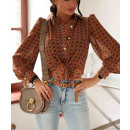 wholesale Shirts & Blouses: Elegant, feminine, brown shirt, size 36-S