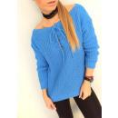 Großhandel Jeanswear: Geknoteter Pullover, Dekolleté, ...