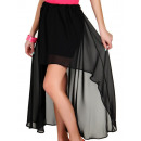 Großhandel Röcke: Hauchdünnen Rock aus Chiffon, schwarz, unisize
