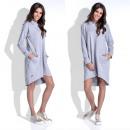 Großhandel Kleider: Kleid, Kapuze, Taschen, Qualität, grau