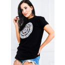 Großhandel Hemden & Blusen: Bluse, übergroße,  bunte Stickereien, schwarz