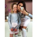 Kleid Mutter und  Kind, Qualität, grau und rosa