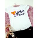 Großhandel Shirts & Tops: T-Shirt , super Mama, Kurzarm, weiß