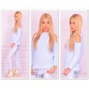 Großhandel Pullover & Sweatshirts: Pullover mit Aussparungen an den Schultern, blau,
