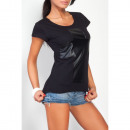 wholesale Shirts & Tops: T-Shirt with a  cross, blouse, black, unisize