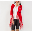 wholesale Fashion & Apparel: Sweater with fringes, cardigan, red, unisize