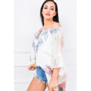 Großhandel Hemden & Blusen: Tunika, Nebel,  Blumen, Federn, beige