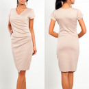 wholesale Dresses: Dress pleated, elegant, beige