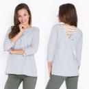 Großhandel Hemden & Blusen: Bluse, gebunden, doppelseitig, grau