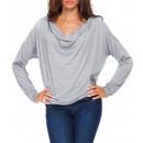 Großhandel Hemden & Blusen: Bluse mit einem  losen Ausschnitt, grau unisize